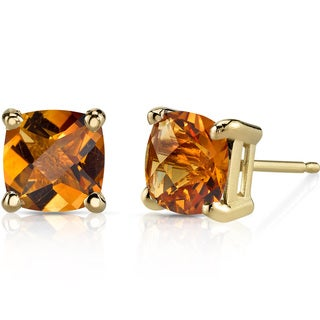 Oravo 14k Yellow Gold 1 3/4ct TGW Citrine Cushion-cut Stud Earrings