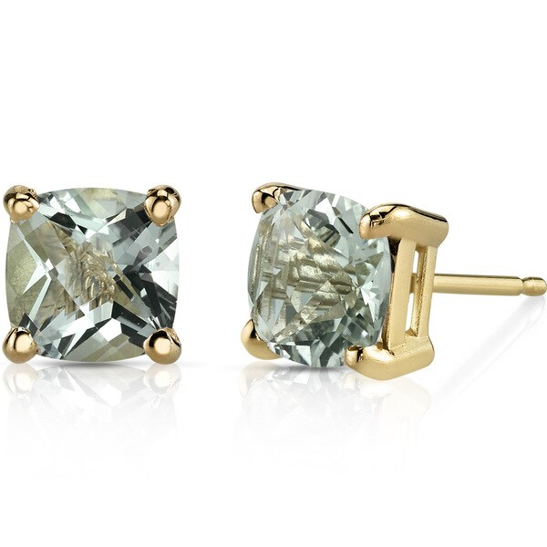 Oravo 14k Yellow Gold 1 3/4ct TGW Green Amethyst Cushion-cut Stud Earrings