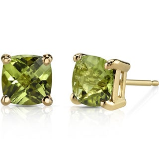 Oravo 14k Yellow Gold 2 1/4ct TGW Peridot Cushion-cut Stud Earrings