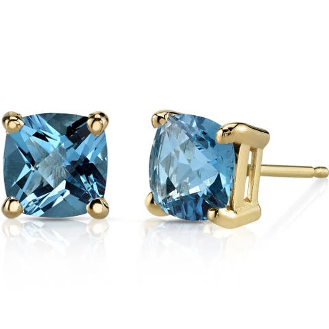 Oravo 14k Yellow Gold 2 1/4ct TGW Swiss Blue Topaz Cushion-cut Stud Earrings