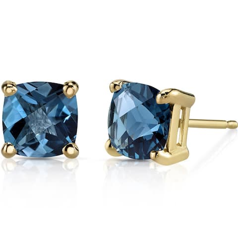 Oravo 14k Yellow Gold 2 1/4ct TGW London Blue Topaz Cushion-cut Stud Earrings