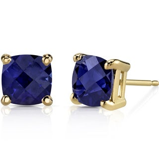 Oravo 14k Yellow Gold 2 1/2ct TGW Created Blue Sapphire Cushion-cut Stud Earrings