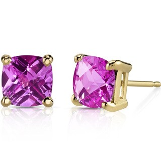Oravo 14k Yellow Gold 2 1/2ct TGW Created Pink Sapphire Cushion-cut Stud Earrings