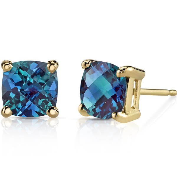 Oravo 14k Yellow Gold 2 1 2ct Tgw Created Alexandrite Cushion Cut Stud Earrings