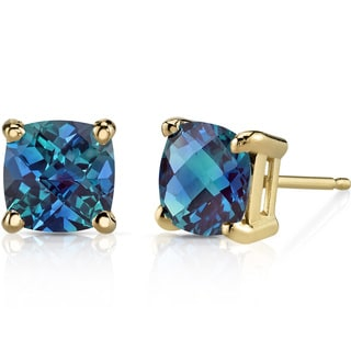 Oravo 14k Yellow Gold 2 1/2ct TGW Created Alexandrite Cushion-cut Stud Earrings