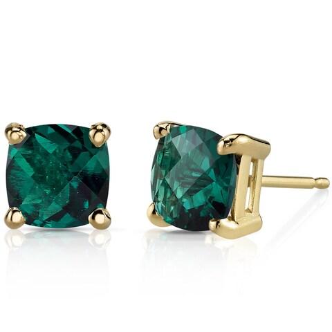 Oravo 14k Yellow Gold 1 3/4ct TGW Created Emerald Cushion-cut Stud Earrings