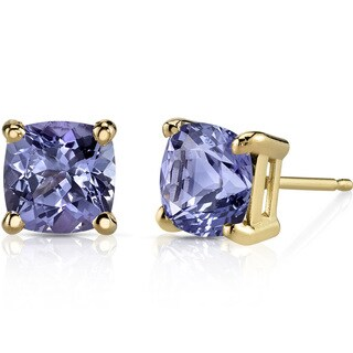 Oravo 14k Yellow Gold 2ct TGW Tanzanite Cushion-cut Stud Earrings