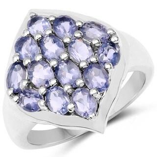 Malaika 2.38 Carat Genuine Iolite .925 Sterling Silver Ring