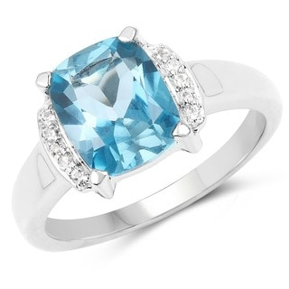 Malaika 3.55 Carat Genuine London Blue Topaz & White Topaz .925 Sterling Silver Ring