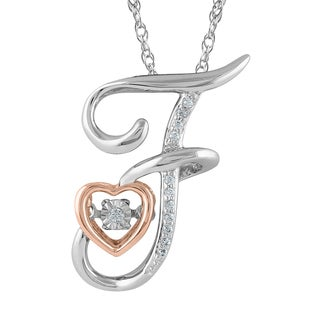 925 Sterling Silver 1/10ct T.W. 'Alphabet F' Pendant (I-J, I2-I3)