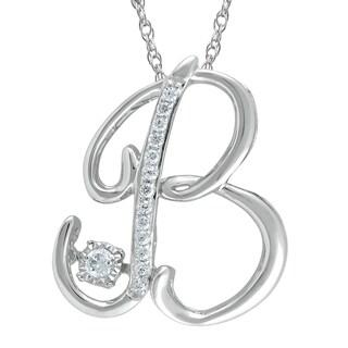 925 Sterling Silver 1/10ct T.W. 'Alphabet B' Pendant (I-J, I2-I3)