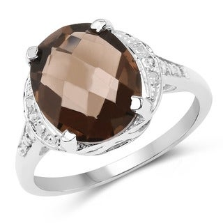Malaika 4.68 Carat Genuine Smoky Quartz & White Topaz .925 Sterling Silver Ring