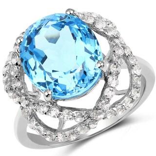 Malaika 6.57 Carat Genuine Swiss Blue Topaz & White Topaz .925 Sterling Silver Ring