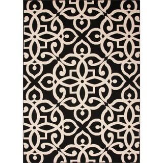 Indoor/ Outdoor Damask Pattern Black/ Taupe Polypropylene Area Rug (2' x 3'7)