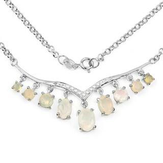 Malaika 2.35 Carat Genuine Ethiopian Opal & White Diamond .925 Sterling Silver Nacklace