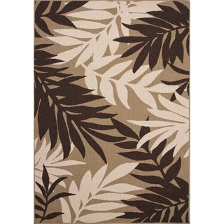 Indoor/ Outdoor Floral & Leaves Pattern Brown/ Taupe Polypropylene Area Rug (2' x 3'7)