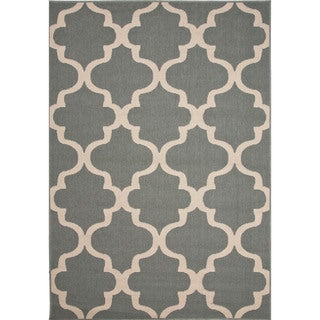 Indoor/ Outdoor Trellis, Chain And Tile Pattern Blue/ Ivory Polypropylene Area Rug (2' x 3'7)