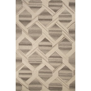 Contemporary Tribal Pattern Ivory/ White Wool Area Rug (2' x 3')