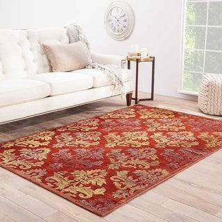 Contemporary Damask Pattern Red/ Yellow Rayon and Chenille Area Rug (2' x 3')