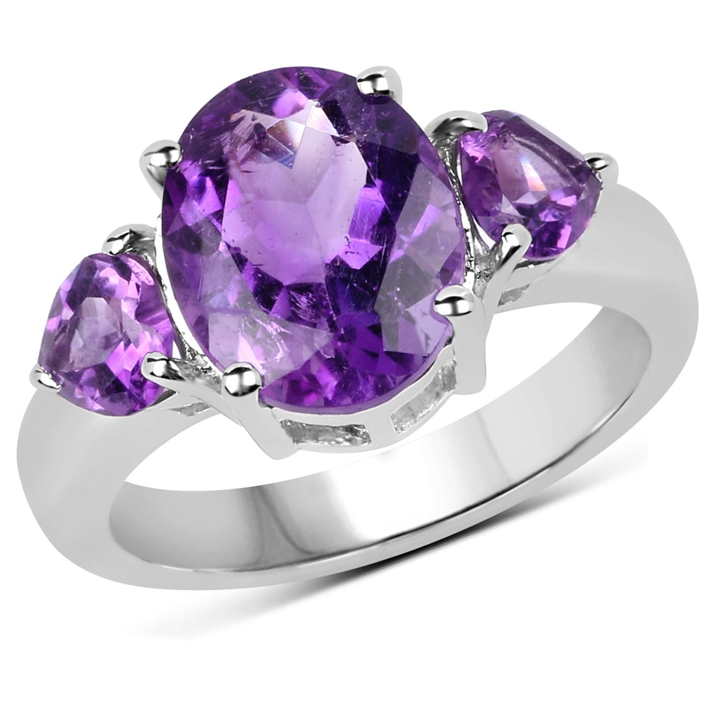 925 Sterling Silver Polished Finish Round Amethyst Solitaire Ring Size 6-8