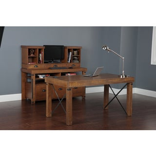 Complete Home Office from American Furniture Classics. Includes Industrial Collection Desk, Credenza Console, and Hutch.