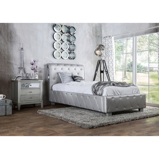 Furniture of America Emmaline Silver Leatherette Platform Bed with Bluetooth Speakers