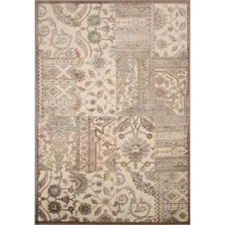 Contemporary Patchwork Pattern Tan Rayon and Chenille Area Rug (9'2 x 12'6)