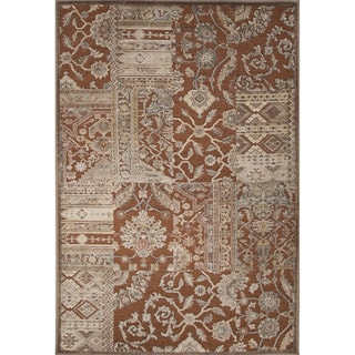 Contemporary Patchwork Pattern Brown Rayon and Chenille Area Rug (9'2 x 12'6)