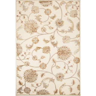 Classic Floral & Leaves Pattern Ivory/ White Rayon and Chenille Area Rug (9'2 x 12'6)