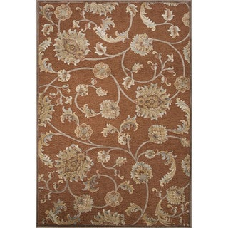 Classic Floral & Leaves Pattern Brown Rayon and Chenille Area Rug (9'2 x 12'6)