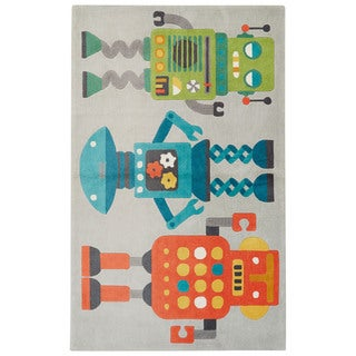 Petit Collage Youth Toy Pattern Gray/Multi Polyester Area Rug (7.6x9.6)