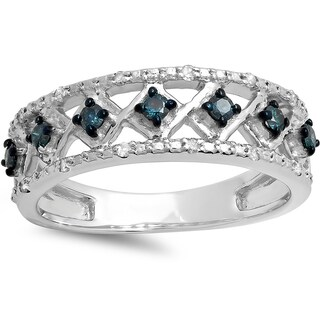 Elora Sterling Silver 1/3ct TDW Round Blue and White Diamond Anniversary Ring Fashion Wedding Band (I-J, I