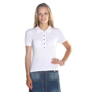 Hadari Women's White Short Sleeve Wing Collar Round Neckline Button Down Top with two frontal pockets