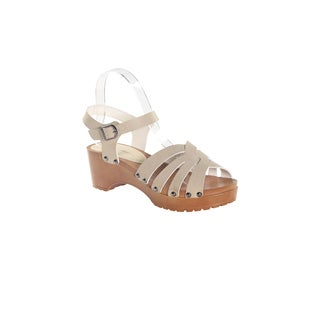 "Hadari Women's Beige Open Toe Criss Cross 2"" Platform"