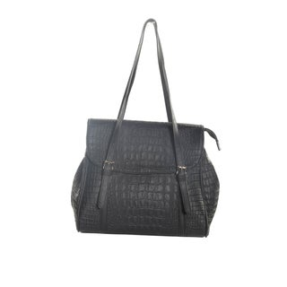 Hadari Women's Black Croc Print Tote with 6 internal pockets
