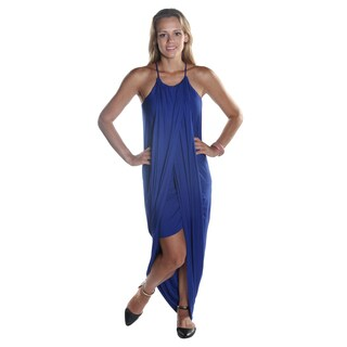 Hadari Women's Spaghetti Strapped Royal Blue Loosefit Round Neck Maxi Dress with side Slit
