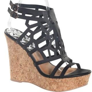 Hadari Women's Black Peep Toe Fashionable Ankle Strap Wedge Platform (More options available)
