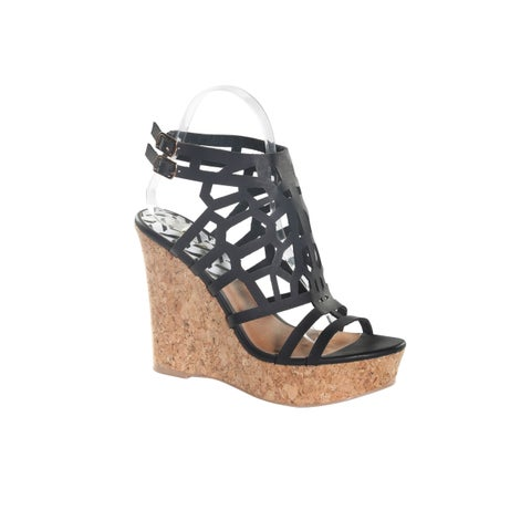 Hadari Women's Black Peep Toe Fashionable Ankle Strap Wedge Platform