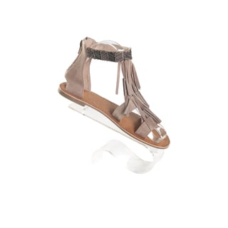 Hadari Women's Tan Double Strap Slip On Sandals with Decorative Tassle Beaded Ankle Zip Strap Size 6
