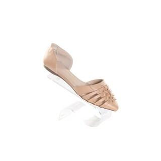 Hadari Women's Tan Pointy Woven Leather Flats