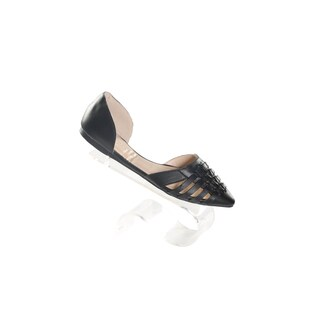 Hadari Women's Black Pointy Woven Leather Flats