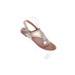 Hadari Women's Gold Wrap Around Hook and Loopw Strap Thong Flat Sandal