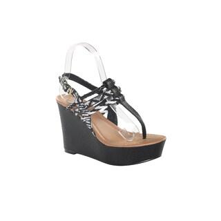 Hadari Women's Black Thong Wedge Platform Sandal Size 6
