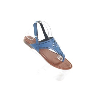Hadari Women's Navy Wrap Around Velcrow Strap Thong Flat Sandal