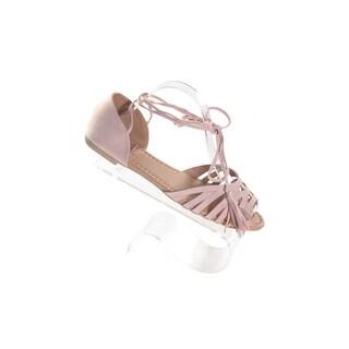 Hadari Women's Peep Toe Blush Flat with Wrap Around Ankle Tassle (4 options available)