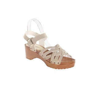 "Hadari Women's Beige Open Toe Over Cross 2"" Platform"