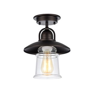 Chloe Industrial 1-light Oil Rubbed Bronze Semi-Flush Mount