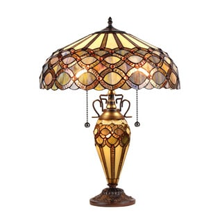 Chloe Tiffany Style Victorian Design 2 + 1-light Dark Bronze Table Lamp