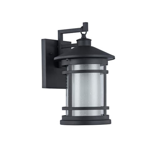 Transitional 1-light Textured Black Outdoor Wall Sconce