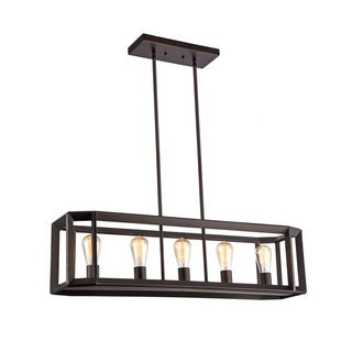 Chloe Industrial 5-light Oil Rubbed Bronze Pendant